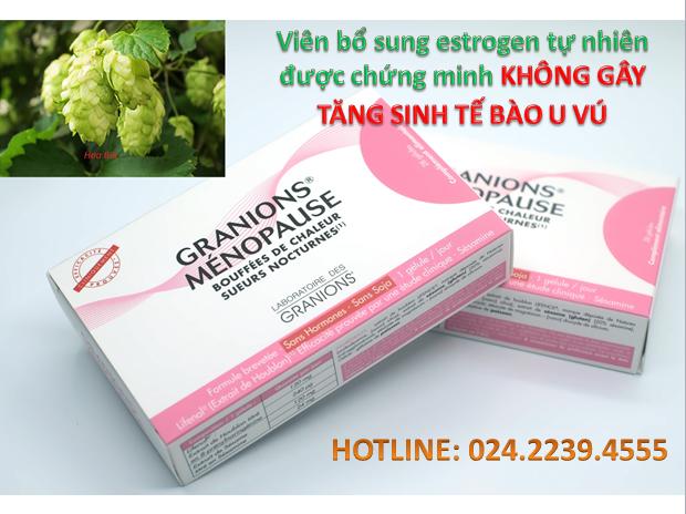 Menopause - sản phẩm tiên phong bổ sung estrogen tự nhiên mà không làm tăng sinh tế bào u vú